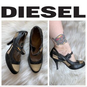 Diesel two tone leather heels. Size 8. Gently used